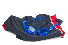Blue Glasses with swimming Short for swimming Royalty Free Stock Photography