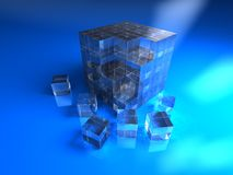 Blue glassy cube. 3d abstract blue glassy cube Royalty Free Stock Images