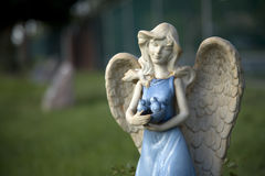 Blue Glazed Angel 2. A blue glazed angel protects the garden and those she watches over Royalty Free Stock Images