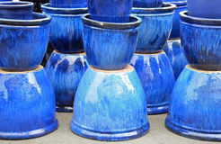 Blue glazed ceramic pots Stock Photos