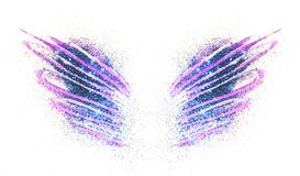 Blue glitter on abstract purple watercolor wings on white background
