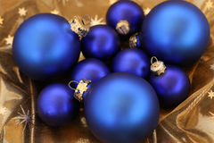 Blue glitter-balls. Are waiting about christmas Royalty Free Stock Photography