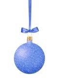 Blue Glitter Christmas decorative ball on ribbon isolated on whi Stock Photos