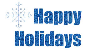 Blue glitter happy holidays Royalty Free Stock Images