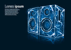 Blue glitter image of audio speakers formed by lightnings stock photo