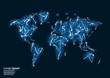 Blue glitter image of a world map formed by lightnings Stock Photos