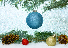 Free Blue Glitter Ornament On Tree Stock Images - 45405964