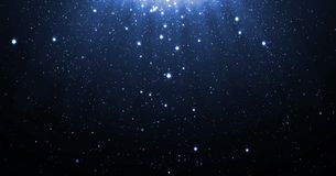 Free Blue Glitter Particles Background With Shining Neon Stars Falling Down And Light Flare Or Glare Overlay Effect Above For Luxury Pr Royalty Free Stock Photography - 107823727
