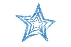 Blue glitter star. Sequins. Golden shine. Powder. Glitter. Shining symbol Stock Photo