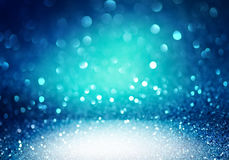 Blue glittering christmas lights. Stock Photo