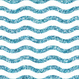 Blue glittering waves seamless pattern Royalty Free Stock Image