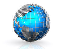 Blue global business world background. Stock Photo