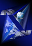 Blue global communications. Blue background with map globe and global connection Stock Images