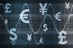 Blue Global Currency Business Abstract Background Stock Photography