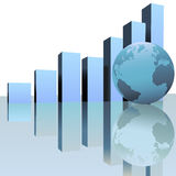 Blue Global Profit Growth Charts with World Globe royalty free illustration