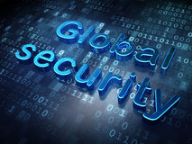 Blue Global Security on digital background Stock Images