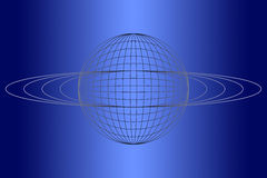 Blue globe. Graduated blue background with sphere/globe and rings Royalty Free Stock Photography