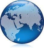 Blue globe. Vector illustration of shiny blue Earth globe with round dots, Asia, Europe and Africa Stock Images