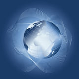 Blue globe. With decorative guilloches for background and the like Stock Images