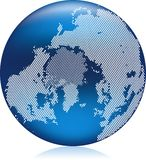 Blue globe. Vector illustration of shiny blue Earth globe with round pattern dots, atlantic ocean Royalty Free Stock Image