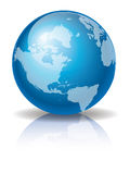 Blue Globe 3. A shiny blue globe against white background created in Illustrator Royalty Free Stock Image