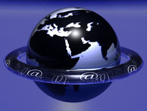 Blue Globe. With a ring at�s symbols Royalty Free Stock Photos