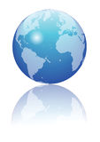 Blue globe. An illustration of a blue globe on a white background stock illustration