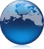 Blue Globe. Vector illustration of shiny blue Earth globe, North Pacific area Stock Photos