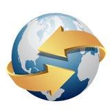 Blue globe with arrows Royalty Free Stock Photos