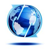 Blue globe with arrows Stock Photos