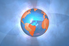 Blue globe background. A illustrated view of a world globe on a light blue background with artistic shapes Stock Photography