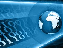 Blue globe binary code Stock Image