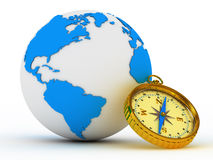 Blue globe and compass Royalty Free Stock Image