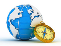 Blue globe and compass Royalty Free Stock Photos