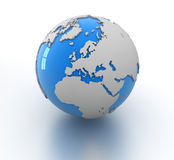 Blue globe. This is a computer generated and 3d rendered picture Royalty Free Stock Image