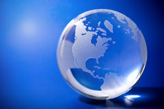 Blue globe with copyspace stock photo