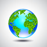 Blue globe, earth from small green leaves, ecology concept Stock Images