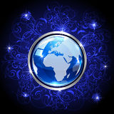 Blue globe with floral elements Stock Images