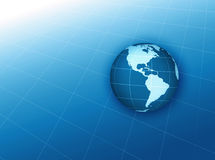 Blue globe graph. Globe on grid background Stock Images