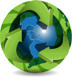 Blue globe and green arrows Stock Photography