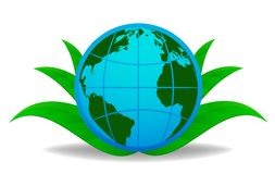 Blue globe with green leaf on background Royalty Free Stock Images
