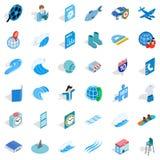 Blue globe icons set, isometric style. Blue globe icons set. Isometric style of 36 blue globe vector icons for web isolated on white background Royalty Free Stock Images