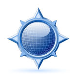 Blue globe inside compass rose Stock Photography