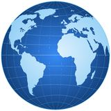 Blue globe isolated Royalty Free Stock Image