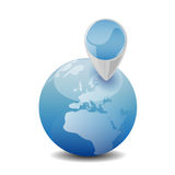 Blue globe with map pin illustration Stock Image