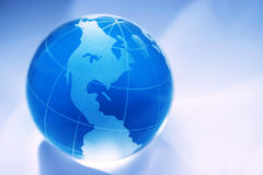 Blue globe of north america. Blue glass globe of north america Stock Photography
