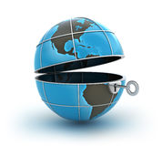 Blue globe with opened lock Royalty Free Stock Images