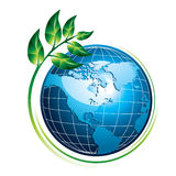 Blue globe with plant. Blue shiny globe with green plant - eco concept,  illustration Royalty Free Stock Photo