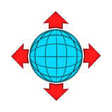 Blue globe and red arrows icon, cartoon style Royalty Free Stock Photography