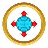 Blue globe and red arrows vector icon Royalty Free Stock Photos